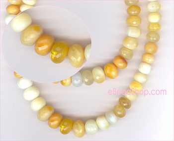Tanzania Yellow Opal Faceted Roundel<br>12 to 14 mm $115