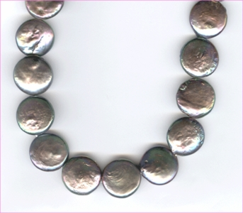 Pearl:  Peacock Gray Flat  Coin <br>10 mm