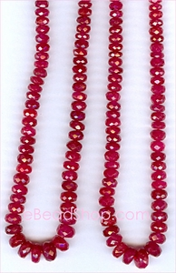 Ruby Facetted Roundel Red 3 - 5 mm