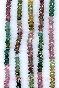 Tourmaline Facetted Roundel<br>3 - 9 mm