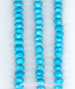 Arizona Turquoise facetted Roundell 7mm