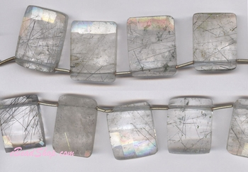 Rutilated Quartz Facetted Rectangular<br>23x23 - 20x15 mm