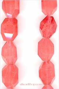 Strawberry Quartz Facetted Nuggets - large