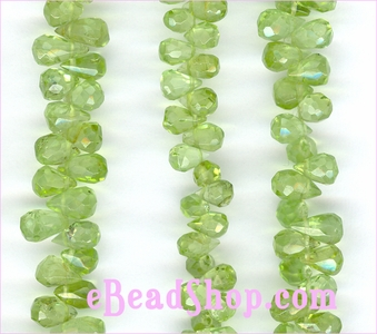 Peridot Faceted Side Drilled Drops - A grade