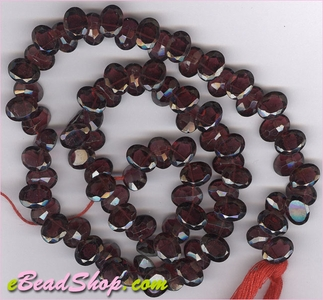 Garnet Facetted Oval Side Drilled<br>6 - 8 mm