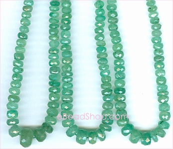 Emerald Facetted Roundell Green<br>3 to 5 mm