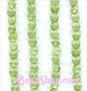 Peridot Facetd Coins Beads