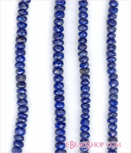 Lapis Faceted Roundel <br> 3- 4mm AAA