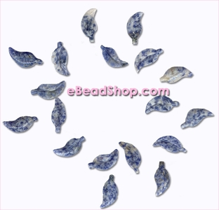 Leaf Beads Lapis<br>Curved 28 x 13 mm