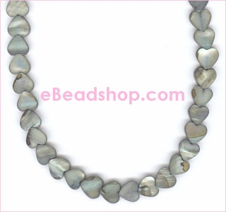 Mother of Pearls Grey Hearts 8x10 mm