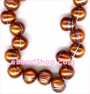 Pearl: Copper Fresh Water  with Lines<br>6-7 mm