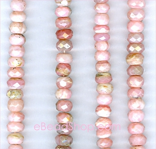 Pink Opal Facetted Roundel<br>6 - 7 mm