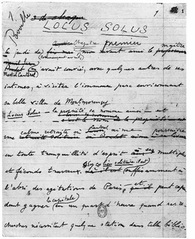 Featured image is an undated page from the manuscript of <I>Locus Solus</I>.