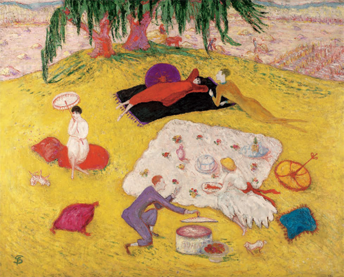 Above, Picnic at Bedford Hills, 1918, by Florine Stettheimer (1871-1944). I think Florine is the one in red. Picnic season is here! Narcissus in the Studio