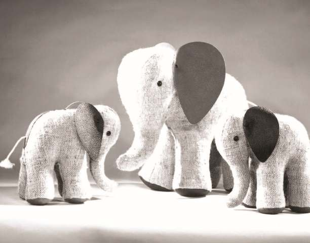 """Therapeutic Toy"" Elephants in jute and leather. Originally designed in 1968. Renate M�ller: Toys + Design"