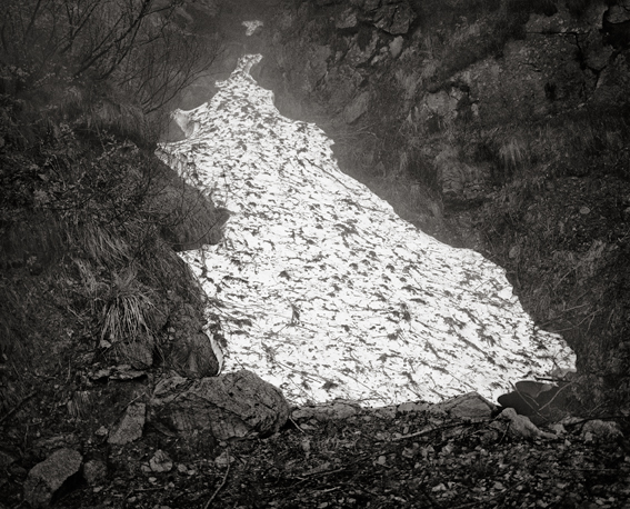 Other photographs transform the contrast of rock and snow into more gestural shapes:  Jean Gaumy: D�Apr�s Nature