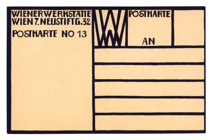 Verso of Wiener Werkst�tte postcard 13, 1907. Postcards of the Wiener Werkst�tte: At First Sight