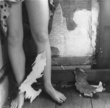 """Untitled,"" from the House series, Providence, Rhode Island, 1975-77. 5 x 5 1/16 in. Woodman (1958-1981) was an artist decisively of her time, yet her photographs retain an undeniable immediacy. Thirty years after her death, they continue to inspire audiences with their dazzling ambiguities and their remarkably rich explorations of self-portraiture and the body in architectural space. Francesca Woodman at SFMOMA"
