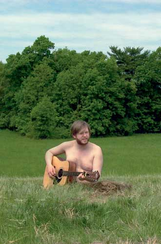 "Ragnar Kjartansson performs ""Satan is Real,"" the multi-channel video on view at ICA Boston through April 7. Image is reproduced from JRP 