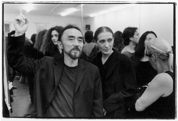 Yohji Yamamoto and collaborator Pina Bausch at the 25th anniversary of her company, Tanztheater Wupperthal, in 1998. Yohji Yamamoto: My Dear Bomb