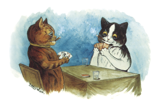 A pre-insanity Wain drawing, assuming cats playing poker is not insane. Louis Wain: Cat Artist
