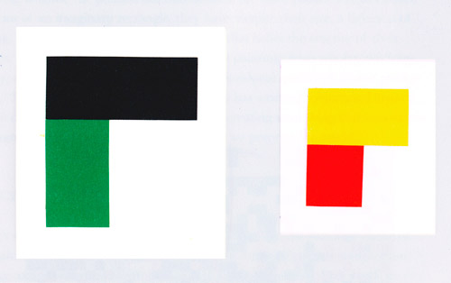 """Study for Chatham IX"" (left) and ""Study for Chatham XIII"" (both 1971), are reproduced from Ellsworth Kelly: Chatham Series, distributed for The Museum of Modern Art, New York, by ARTBOOK 