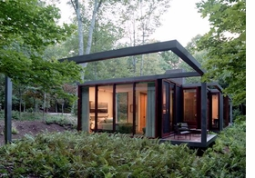 "Brad Cloepfil and his innovative firm, Allied Works Architecture, completed the guesthouse above, as well as a private residence, an ""art barn"" and various outbuildings, on 350 acres of meadow and forest in Stanfordville, New York, in 2007."