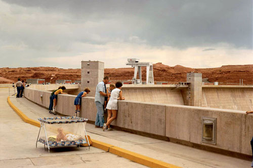 """Glen Canyon Dam, Page, Arizona, 1983,"" by Joel Sternfeld, is reproduced from American Prospects.  Below are Jennings"