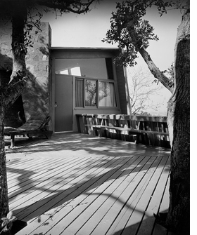 "Featured image, the Kallis House, designed by R.M. Schindler between 1946 and 48 in Studio City, California, is reproduced from <I>Sympathetic Seeing</I>. ""McCoy noted Schindler�s unexpected and expressive use of Bouquet Canyon stone in this hillside house and studio designed for an artist."""