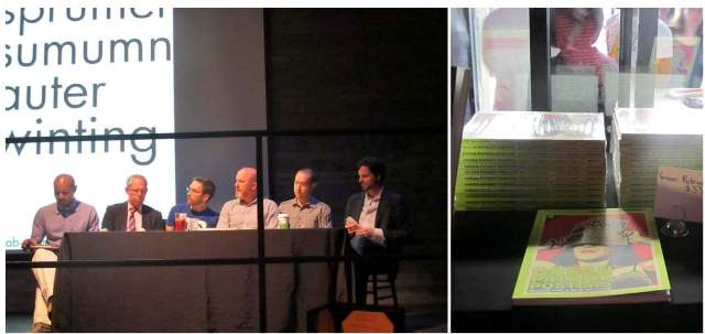 LEFT: Design Activism panelists Paul D. Miller (aka DJ SPOOKY), Michael Bierut, Jeremy Osborn, Dmitri Siegel, James Slezak and Edward Morris. RIGHT: Green Patriot Posters (Metropolis Books, 2010).   Design Activism