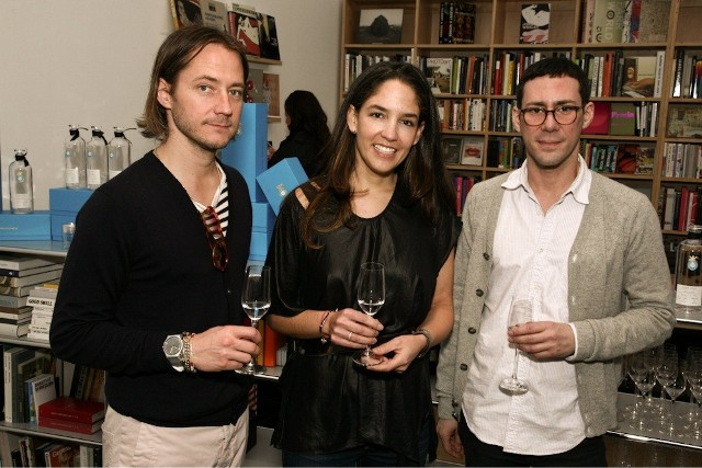 Paul Marlow, designer of Loden Dager, Bertha Gonzalez Nieves, CEO of Casa Dragones, and Alex Galan.  ARTBOOK @ Paper Chase Launch Event for Loden Dager