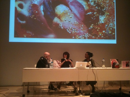 Richard Flood, Marilyn Minter and Wangechi Mutu below a projection of one of Minter