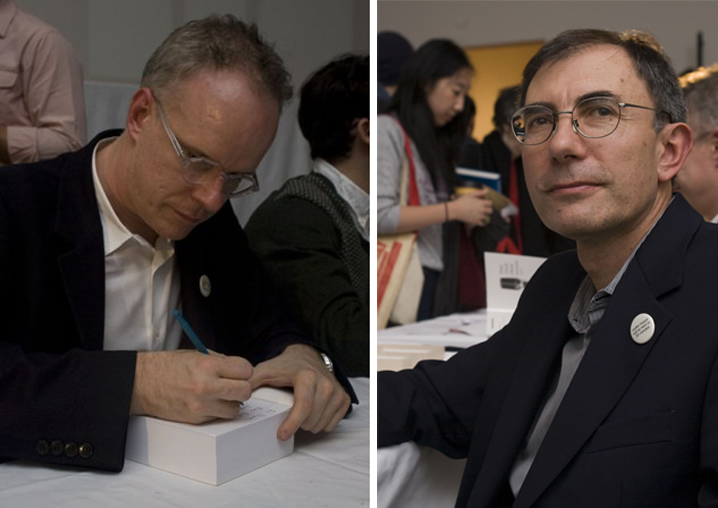 Left: Hans Ulrich Obrist signs copies of his new, 950-page book of recent interviews. Right: Astronomer Dimitar Sasselov spoke about his discovery of hundreds of earth-like planets, potentially habitable by humans. Hans Ulrich Obrist Interviews Volume 2 at MoMA PS1