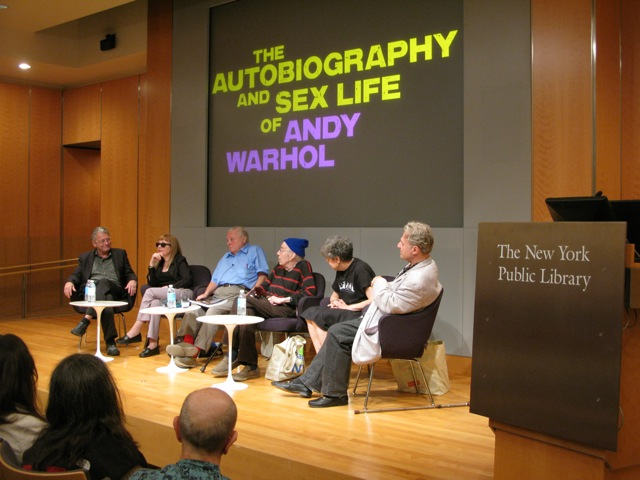 Dr. Steven Watson, Bibbe Hanson, John Wilcock, Taylor Mead, Gretchen Berg, Gerard Malanga. The Autobiography and Sex Life of Andy Warhol