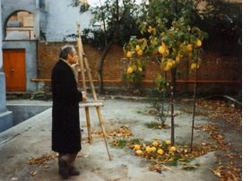 "The renowned Madrid figurative painter, Antonio L�pez Garc�a, sets up his easel in front of a quince tree. Featured image is reproduced from <a href=""9781935202257.html"">Antonio L�pez Garc�a: Drawings</a>."