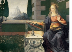 "Featured image is a detail of da Vinci's ""Annunciation"" (1472-1473)."