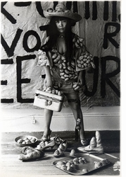"Featured image, an undated photograph of the artist on one of her late-60s <I>Accumulation</I> pieces, is reproduced from <a href=""9781935202813.html"">Yayoi Kusama</a>"