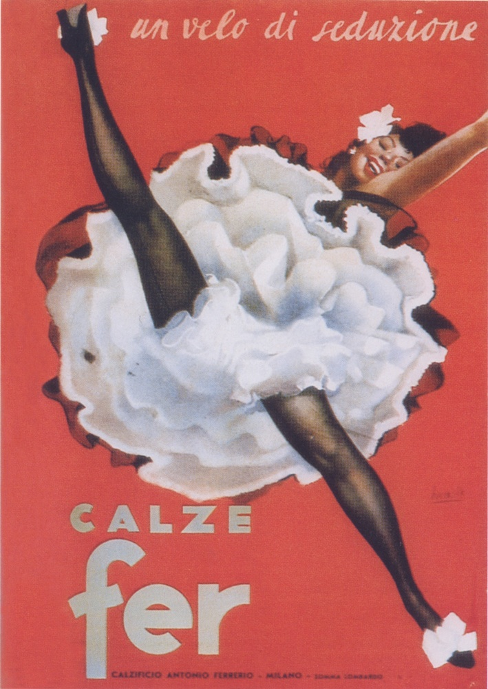 "Featured image is an advertising poster from the 1950s designed by Gino Boccasile for �Calze Fer. It is reproduced from ""Posters:  Irony, Imagination and Eroticism in Advertising 1895-1960,"" distributed for Silvana by ARTBOOK 