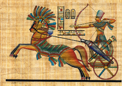 War Scene With Rameses Seated In His Chariot Papyrus