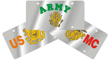 Stainless-Style Armed Services License Plates