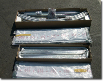 Open box packaging view for 12 x 20 x 8 House or Round Style Car Shelter