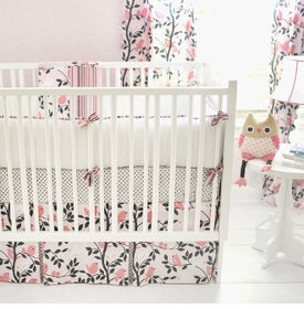 feather your nest in pink crib bedding set