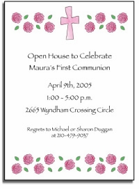 invitations pink cross & roses - personalized