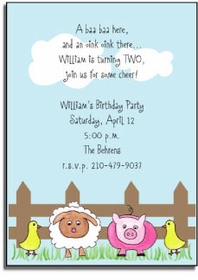 personalized invitations � farm friends