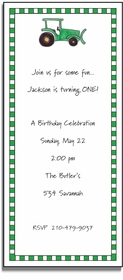 personalized invitations � green tractor