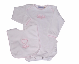 personalized long sleeve heart bodysuit and matching bib (optional)