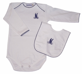 Personalized Long Sleeve Bodysuit with Picot Trim (and Optional Matching Bib)