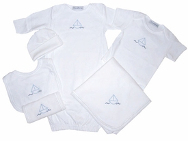 sailboats layette set (deluxe)