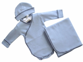 cotton layette set  - kimono onesie and hat