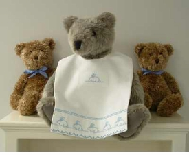 bib - embroidered  flopsy & mopsy pique by sweet william